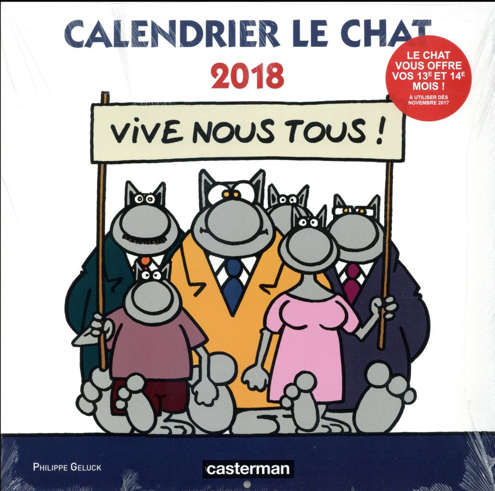 Calendrier Le Chat 2018 Geluck Philippe Casterman